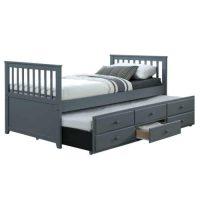 Dřevěná rozkládací jednolůžková postel s přistýlkou