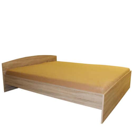 Dvoulůžková postel v jednoduchém provedení v dekoru dub
