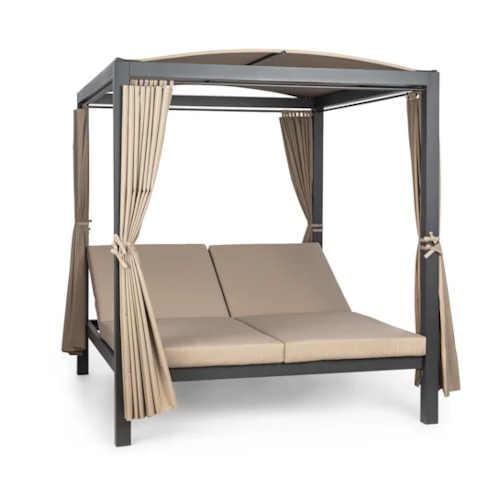 Kovová zahradní postel pro 2 se stříškou a závěsy