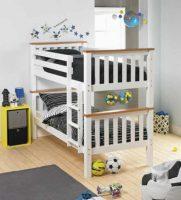 Patrová rozložitelná postel v bílo-hnědém provedení