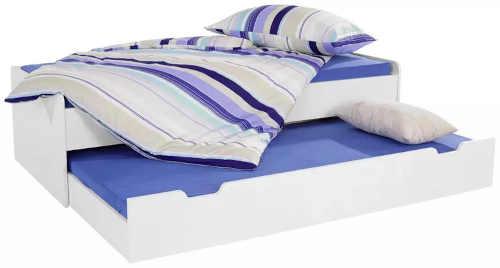 bílá maxi postel se zásuvkou