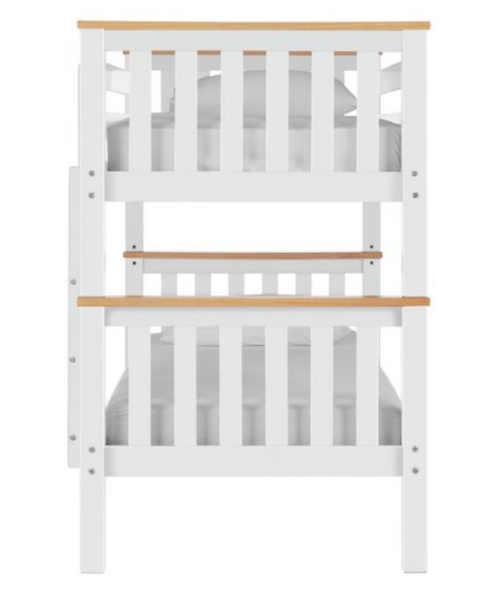 bílá patrová postel s hnědými detaily
