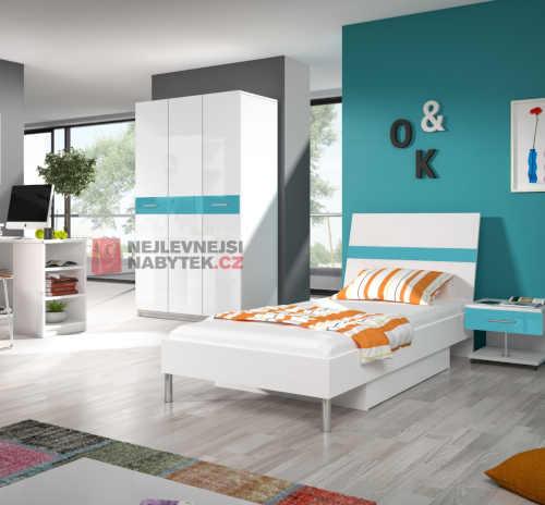 postel jednolůžková bílá-tyrkys