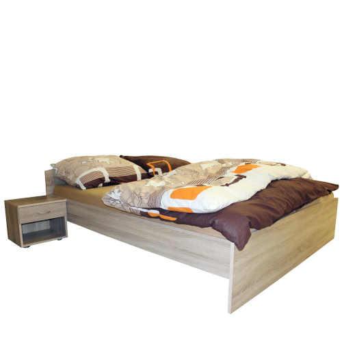 postel z lamina v dekoru dub