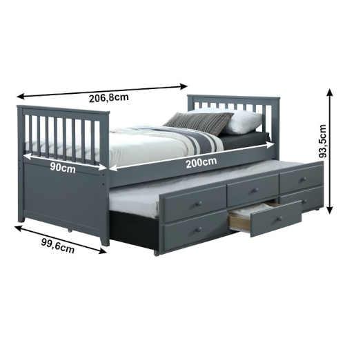 rozkládací postel s úložným místem a přistýlkou