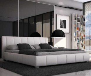 Čalouněná moderní manželská postel 160x200 cm s roštem