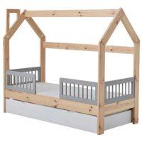 Dětská postel z masivu borovice ve tvaru domečku