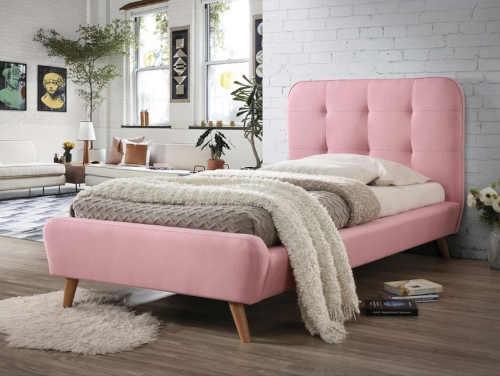 Jednolůžková postel 90x200 cm v růžovém provedení