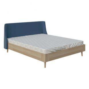 Manželská postel v působivé kombinaci dřeva a čalounění