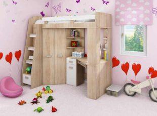 Multifunkční dřevěná patrová postel do malého interiéru