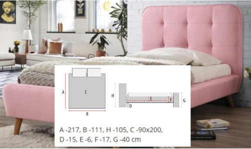 čalouněná postel Tiffany růžová