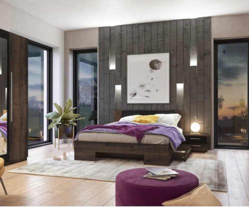 dřevěná designová postel se stolky