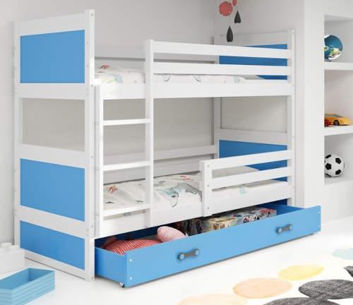 Modrobílá poschoďová postel s úložným prostorem