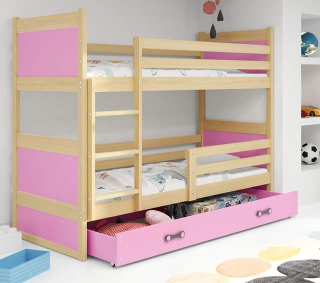 Růžová patrová postel pro holky