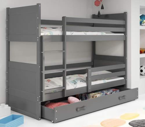 Tmavě šedá dětská patrová postel ze dřeva