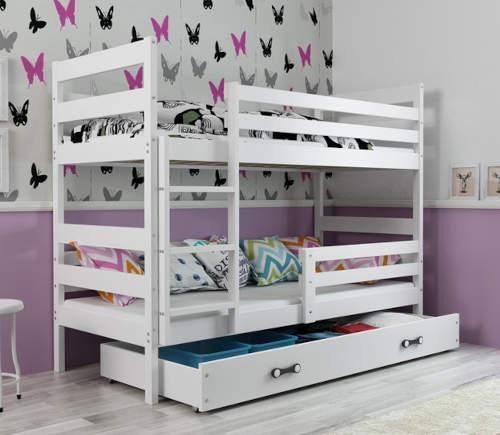 Bílá dětská dřevěná patrová postel 190 x 80 cm