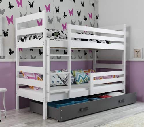 Bílo-černá dětská patrová postel