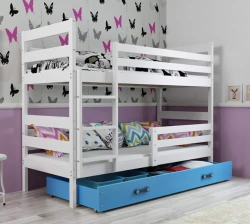 Dětská patrová postel ERYK 190x80 cm včetně roštů a matrací