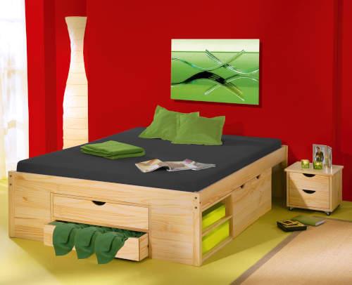 Dvoulůžková postel masivní borovice s úložnými prostory