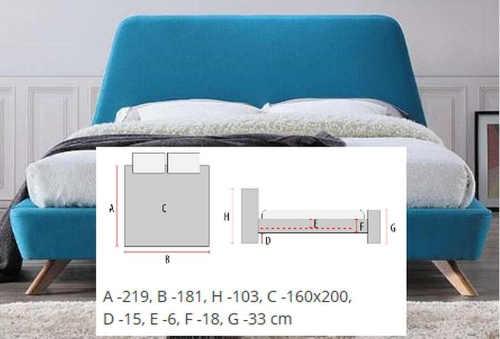 tyrkysová manželská čalouněná postel