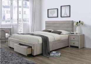 Čalouněná postel v béžovém provedení se zásuvkami