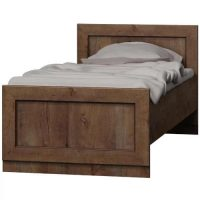 Jednolůžková dřevěná postel 90x200 cm v tmavém dekoru