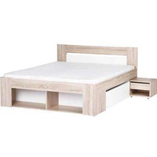 Manželská postel s nočním stolkem v dekoru dub sonoma