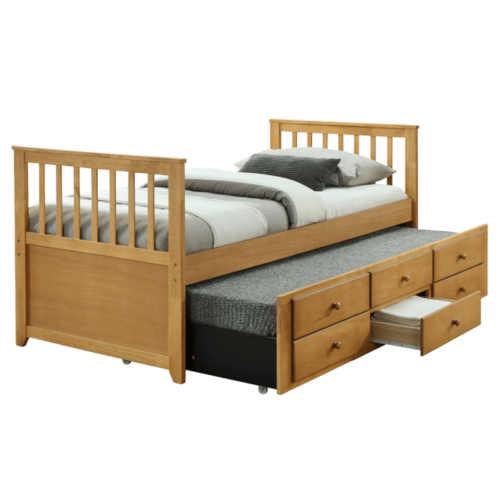 Rozkládací postel s přistýlkou a úložným prostorem