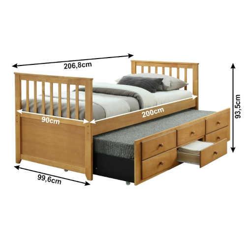 dřevěná rozkládací postel s přistýlkou