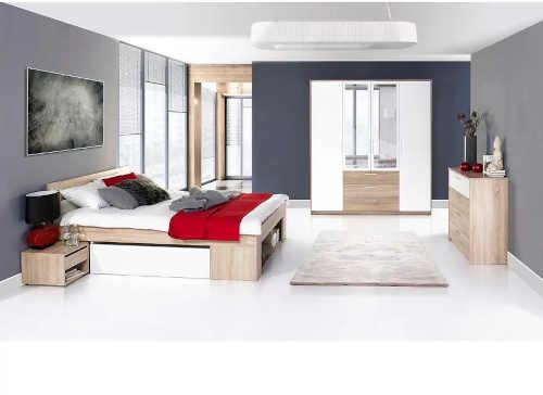 dvoulůžková postel v dekoru dub