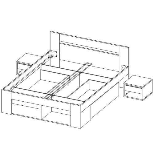 postel pro dva s nočním stolkem