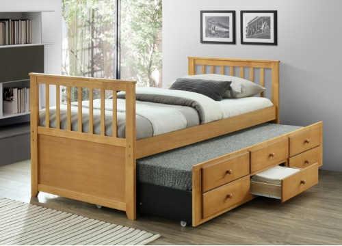 postel s přistýlkou a zásuvkami
