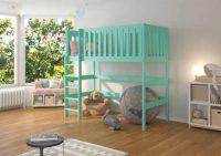 Dětská dřevěná patrová postel 90x200 cm se zábranou