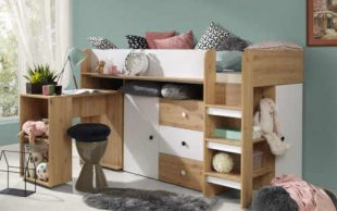 Dětská dřevěná postel SMART se stolem a skříňkami