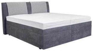 Dvoulůžková čalouněná postel s roštem a úložným prostorem