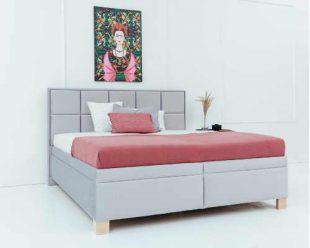 Moderní manželská čalouněná postel s úložným místem